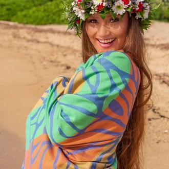 Полотенце пештемаль для пляжа, сауны, бани Begonville INDIGO & TERRA LAYLA хлопок (indigo orange)
