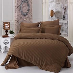 Постельное белье Karna PERLA бамбуковый сатин коричневый евро