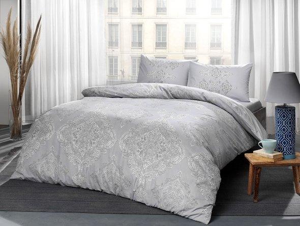 Постельное белье TAC HAPPY DAYS MIRABEL хлопковый ранфорс серый 1,5 спальный, фото, фотография