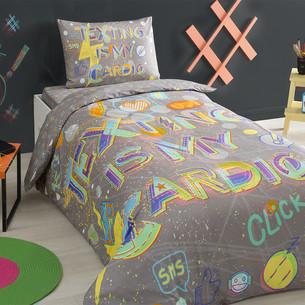 Комплект подросткового постельного белья TAC CLICK хлопковый ранфорс серый 1,5 спальный
