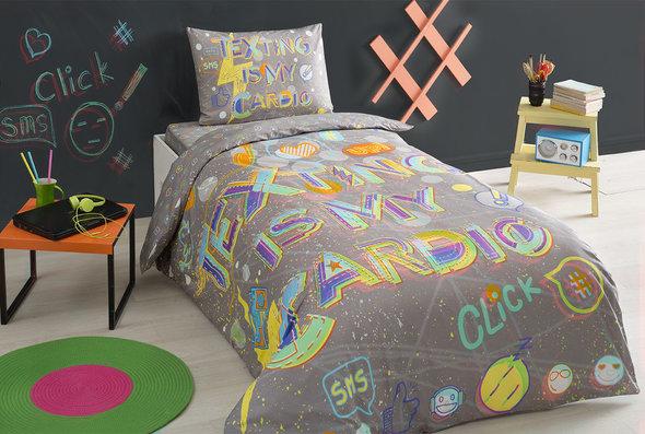 Комплект подросткового постельного белья TAC CLICK хлопковый ранфорс (серый) евро, фото, фотография