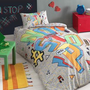 Комплект подросткового постельного белья TAC NON STOP хлопковый ранфорс серый 1,5 спальный