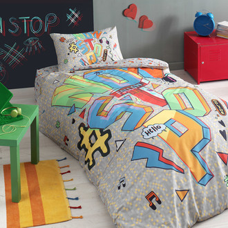Комплект подросткового постельного белья TAC NON STOP хлопковый ранфорс (серый)
