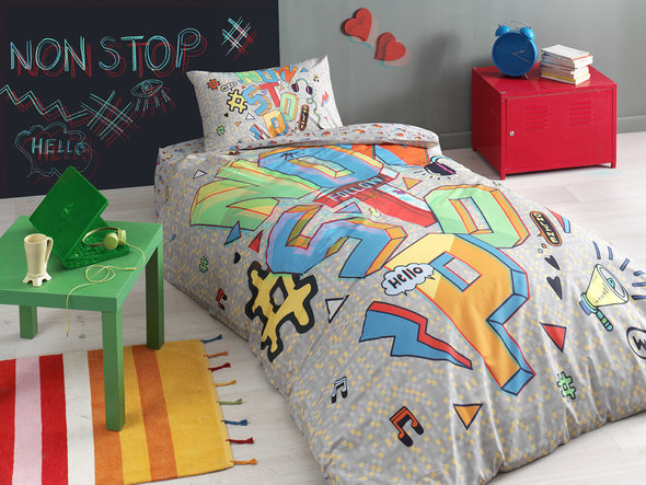 Комплект подросткового постельного белья TAC NON STOP хлопковый ранфорс (серый) евро, фото, фотография