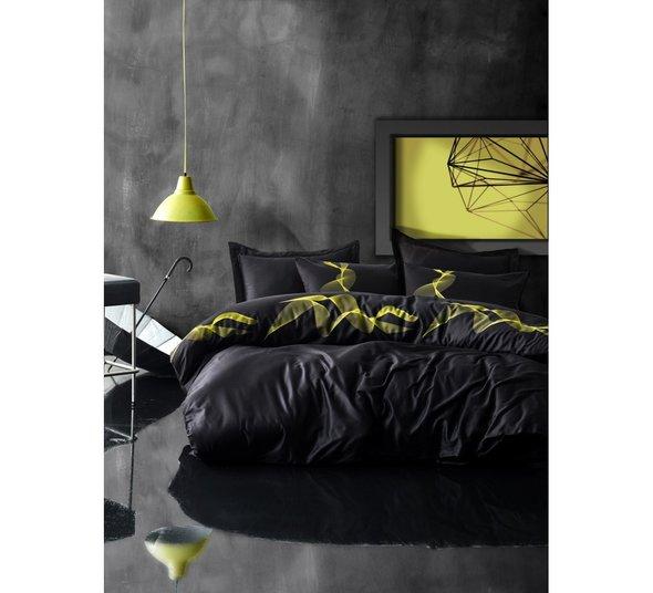 Постельное белье Cotton Box SATEN ENERGY хлопковый сатин чёрный евро, фото, фотография