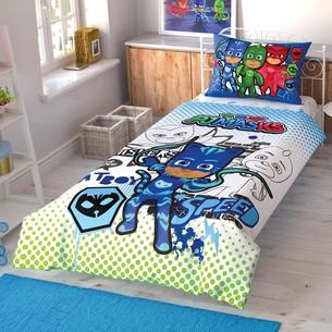 Детское постельное белье TAC PJ MASKS CEK хлопковый ранфорс 1,5 спальный