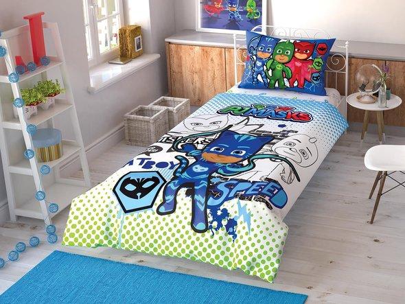 Детское постельное белье TAC PJ MASKS CEK хлопковый ранфорс 1,5 спальный, фото, фотография