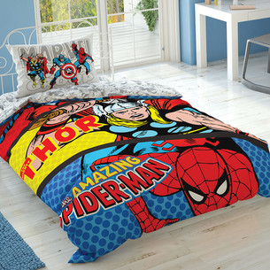 Детское постельное белье TAC MARVEL COMICS хлопковый ранфорс 1,5 спальный