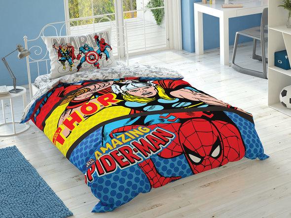 Детское постельное белье TAC MARVEL COMICS хлопковый ранфорс 1,5 спальный, фото, фотография