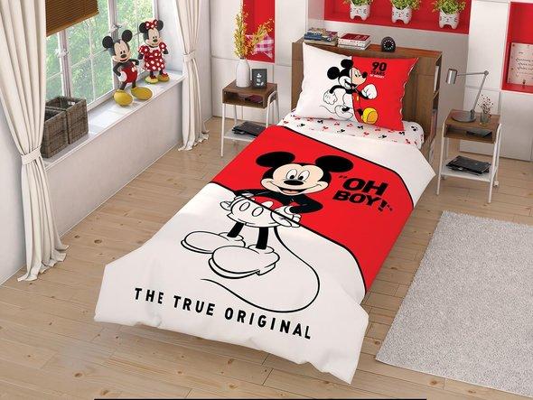 Детское постельное белье TAC MICKEY CEK хлопковый ранфорс 1,5 спальный, фото, фотография