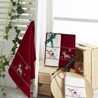 Подарочный набор полотенец для кухни 40*60(2) Karna HAPPY хлопковая вафля (V7)