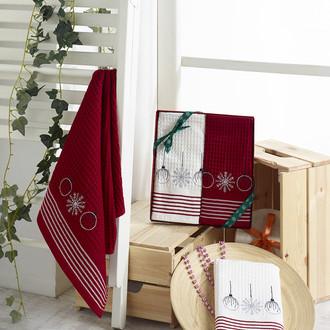 Подарочный набор полотенец для кухни 40*60(2) Karna HAPPY хлопковая вафля (V8)