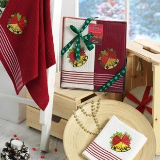 Подарочный набор полотенец для кухни 40*60 2 шт. Karna HAPPY хлопковая вафля V5
