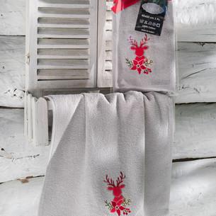 Полотенце-салфетка 40х60 Karna NOEL хлопковая махра серый V3