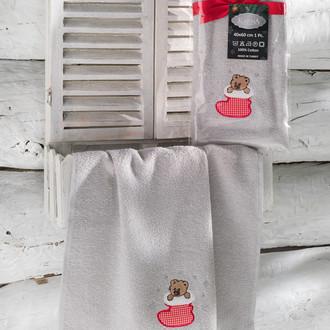 Полотенце-салфетка 40х60 Karna NOEL хлопковая махра серый V4