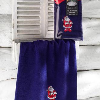 Полотенце-салфетка 40х60 Karna NOEL хлопковая махра синий V1