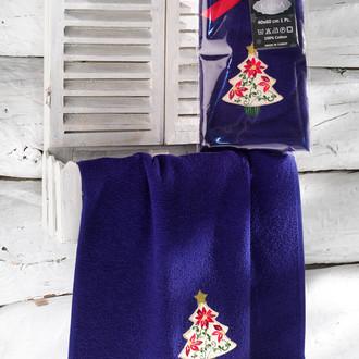Полотенце-салфетка 40*60 Karna NOEL хлопковая махра синий V3