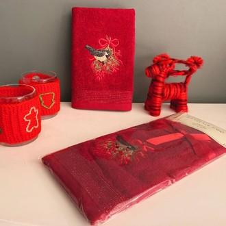 Полотенце-салфетка La Villa KUS DESEN хлопковая махра бордовый