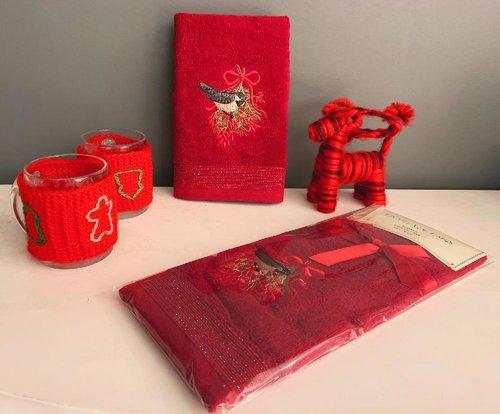 Полотенце-салфетка La Villa KUS DESEN хлопковая махра бордовый 45х70, фото, фотография