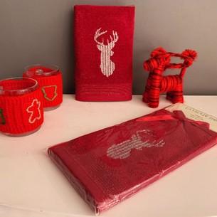 Полотенце-салфетка La Villa SIMLI GEYIK хлопковая махра бордовый 45х70