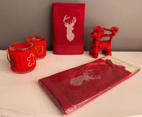 Полотенце-салфетка La Villa SIMLI GEYIK хлопковая махра бордовый 45х70, фото, фотография