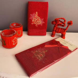 Полотенце-салфетка La Villa YILBASI AGACI хлопковая махра бордовый