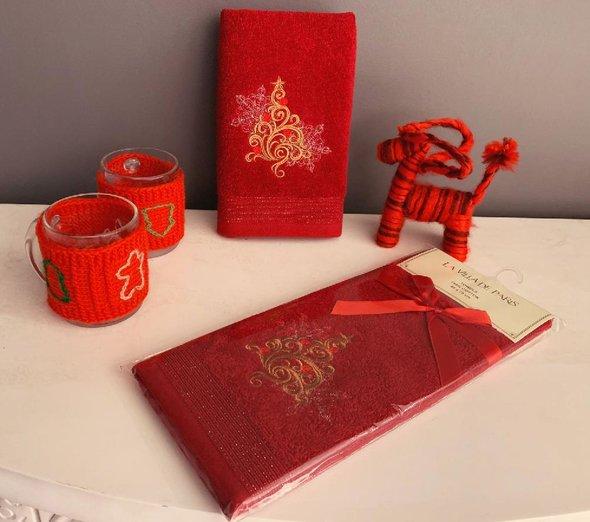 Полотенце-салфетка La Villa YILBASI AGACI хлопковая махра бордовый 45х70, фото, фотография