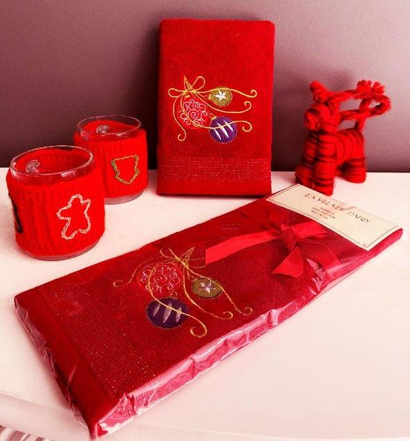 Полотенце-салфетка La Villa YILBASI SUSU хлопковая махра бордовый 45*70, фото, фотография