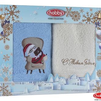 Подарочный набор полотенец-салфеток 30х50 2 шт. Hobby Home Collection НОВОГОДНИЙ хлопковая махра A10