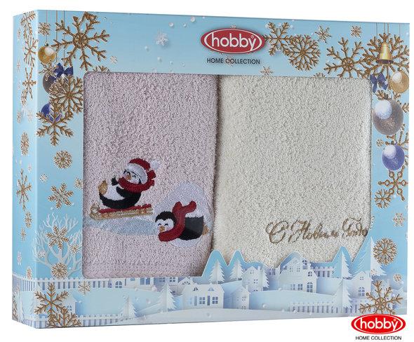 Подарочный набор полотенец-салфеток 30х50 2 шт. Hobby Home Collection НОВОГОДНИЙ хлопковая махра A14, фото, фотография