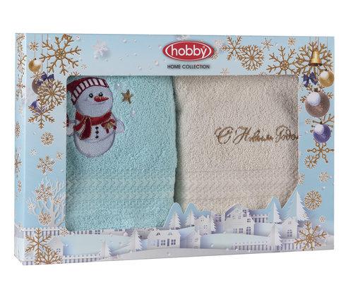 Подарочный набор полотенец-салфеток 30х50 2 шт. Hobby Home Collection НОВОГОДНИЙ хлопковая махра A9, фото, фотография