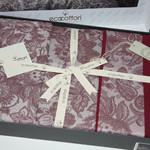 Постельное белье Ecocotton AKUS органический хлопковый сатин-жаккард делюкс бордовый евро, фото, фотография