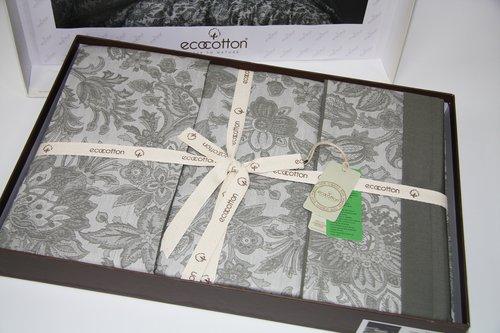 Постельное белье Ecocotton AKUS органический хлопковый сатин-жаккард делюкс зелёный евро-макси, фото, фотография