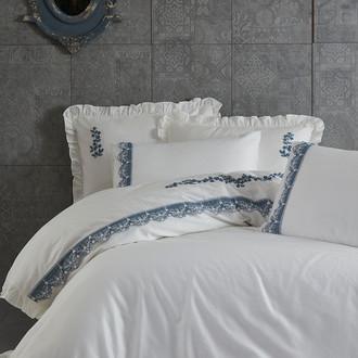 Постельное белье Ecocotton ASEL органический хлопковый сатин делюкс кремовый, синий