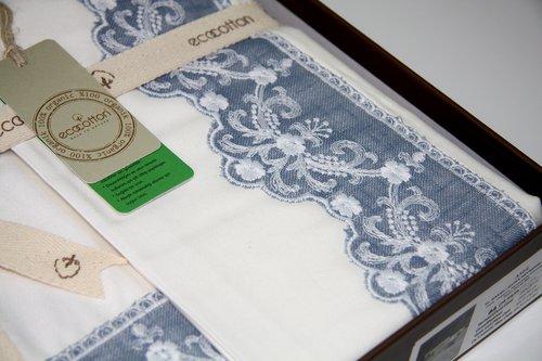 Постельное белье Ecocotton ASEL органический хлопковый сатин делюкс кремовый, синий евро, фото, фотография
