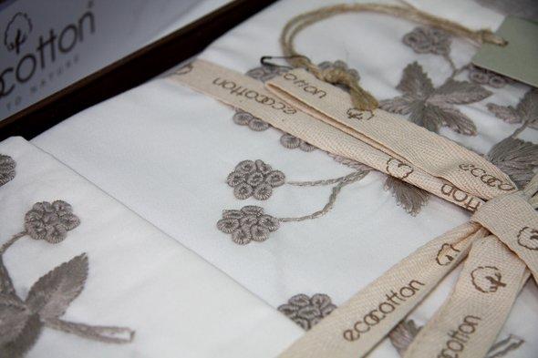 Постельное белье Ecocotton AYLIZ органический хлопковый сатин делюкс кремовый евро, фото, фотография
