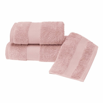 Набор полотенец для ванной в подарочной упаковке 32*50, 50*100, 75*150 Soft Cotton DELUXE хлопковая махра тёмно-розовый
