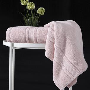 Полотенце для ванной Karna SERRA хлопковая махра пудра 50х90