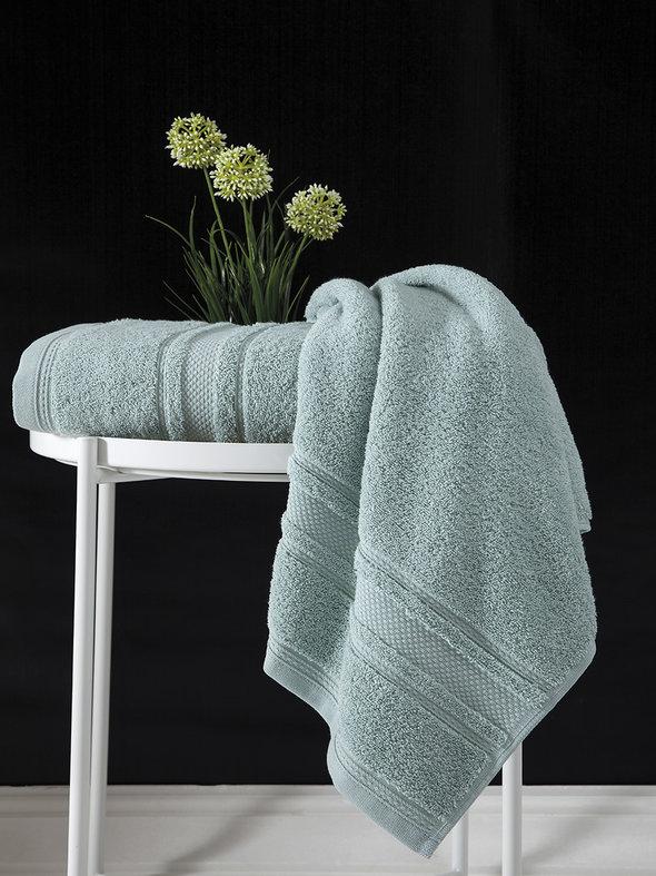Полотенце для ванной Karna SERRA хлопковая махра (зелёный) 50*90, фото, фотография