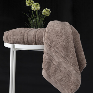 Полотенце для ванной Karna SERRA хлопковая махра кофейный 50х90
