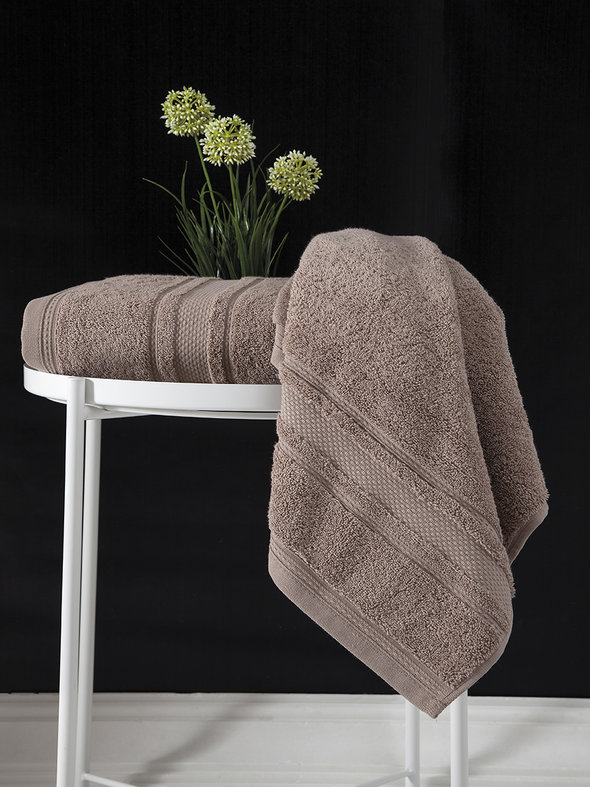 Полотенце для ванной Karna SERRA хлопковая махра (кофейный) 50*90, фото, фотография