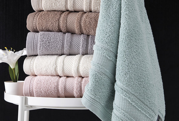Полотенце для ванной Karna SERRA хлопковая махра бежевый 70х140, фото, фотография