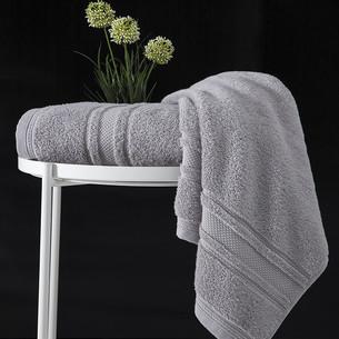 Полотенце для ванной Karna SERRA хлопковая махра серый 70х140