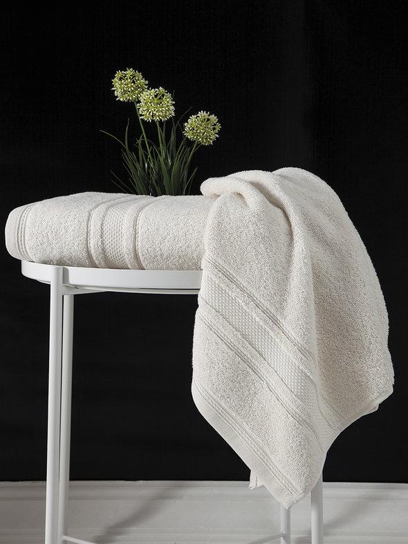 Полотенце для ванной Karna SERRA хлопковая махра (кремовый) 50*90, фото, фотография