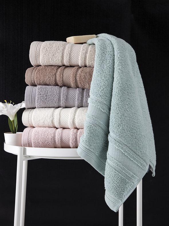 Полотенце для ванной Karna SERRA хлопковая махра (кремовый) 70*140, фото, фотография