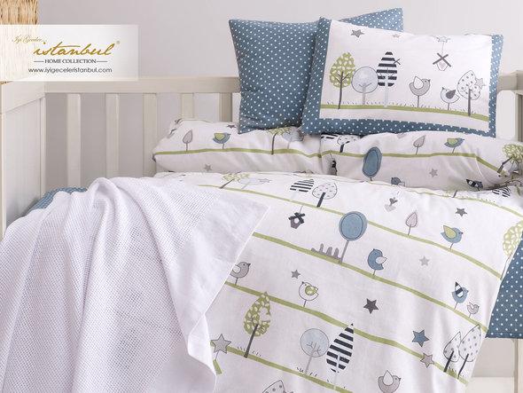 Детское постельное белье в кроватку для новорожденных Istanbul Home Collection BIRDLY (серый), фото, фотография
