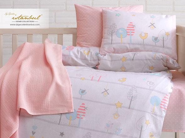 Детское постельное белье в кроватку для новорожденных Istanbul Home Collection BIRDLY (розовый), фото, фотография