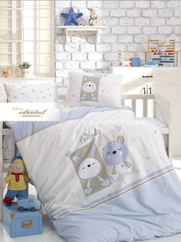 Детское постельное белье в кроватку для новорожденных Istanbul Home Collection FRIENDS (синий), фото, фотография