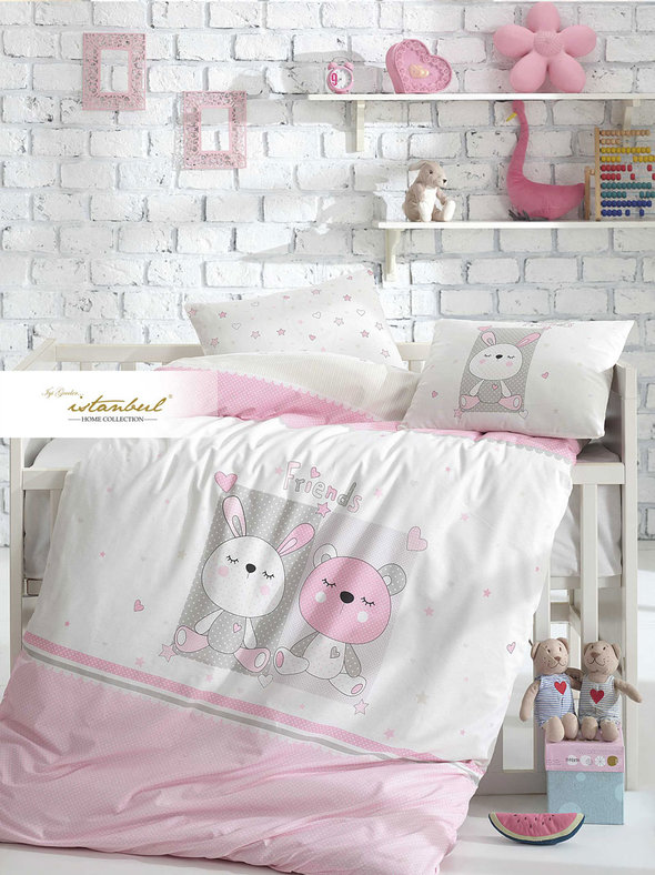 Детское постельное белье в кроватку для новорожденных Istanbul Home Collection FRIENDS (розовый), фото, фотография