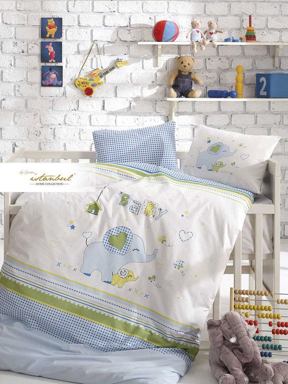 Детское постельное белье в кроватку для новорожденных Istanbul Home Collection HAPPY (синий), фото, фотография